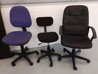 Three well-used comfy Office Chairs