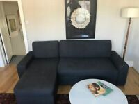 DARK GREY CORNER SOFA WITH CHAISE & SOFABED-EXCELLENT CONDITION-MUST GO ASAP-DELIVERY OR PICKUP-£425