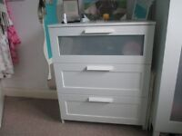 White wooden chest of drawers
