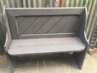 PEW PAINTED FRENCH GREY SOLID WOOD HALL STORAGE