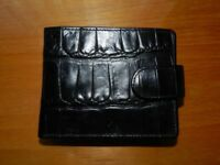 Black mock crocodile genuine leather M&S Autograph wallet brand new unused