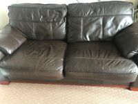 Three seater Brown Leather settee and 2 arm chairs