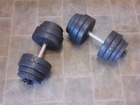 Plastic Weights with Metal Dumbbell Bars