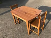 Ikea MINNEN children's table and two chairs