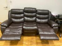 Leather recliner 3seater sofa for sale