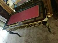 Mahogany / Brass, Leather Top, Writing Desk