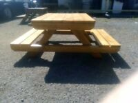 Garden bench with table, hand made, can be made to order too