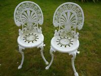 2 x fancy vintage metal chairs. White.