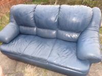 blue leather 3 seater sofa very good condition free delivery in london sat/sun no offers