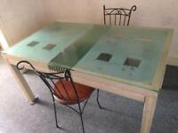 Glass dinning table and set of 3 dining chairs