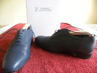 Versace Scarpe Collection, blue Versace pattern shoes with logo leather upper. Size 5.