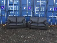 Bargain Italian Tough Leather Brown Sofa V.G.C. Fast Free Delivery In Norwich,