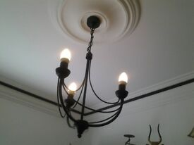 Black wrought iron ceiling lamp
