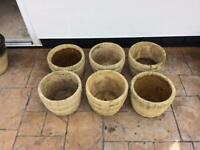 Concrete garden plant pots x 6