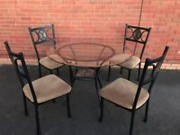 American Glass Top Kitchen / Dining Table & 4 Chairs