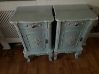 gorgeous antique french style bedside cabinets & chest of drawers.