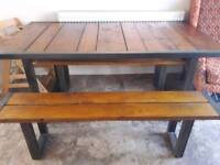 Next Solid Wood and Steel Frame Table with 2 x benches- Excellent Condition