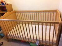 Mama and Papas wooden cot bed and mattress
