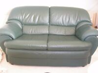Green Leather sofa for sale.