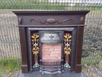 125 Cast Iron Fireplace Surround Fire Wood Tiled Insert Antique Victorian Style