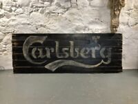 Large Wooden Vintage Style Carlsberg Wall Art