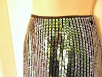 NEW Fully Sequined Blue Green Black Party Cocktail Skirt BNWOT Size 10