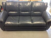 Blue Leather Sofa with Recliner Chairs (3+1+1)