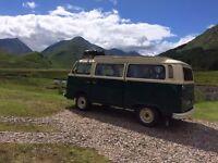 VW Bay Window Camper van. 1973 tax exempt. New engine 2005. Good runner.