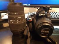 Nikon D3300 + 2 Lenses, 2 SD Cards, Camera Bag and Tripod