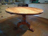 Solid old pine round wooden table