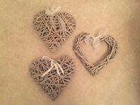 Large Hobbycraft wicker hearts x 3