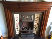 Gazco Victorian gas fire and insert with tiles