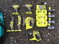 RYOBI 18V ONE+ cordless tool kit - drill, jigsaw etc.
