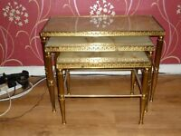 ANTIQUE BRASS & ONYX NEST OF 3 TABLES