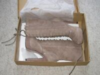 BNIB UK 6 French Connection Grey Leather Boots high heels Suede RRP£150 JEDDA