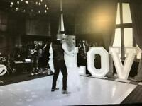 Multicolour LED LOVE signs. For wedding
