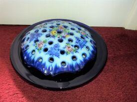 Ceramic and glass dark blue and patterned flower holder