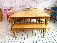 Chunky Farmhouse Table Dining Set Modern Rustic Large All Oak