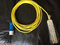 Tent power cable 10m long new unused with blue site plug and 4way 13amp socket