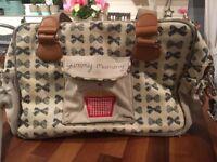Yummy Mummy Pink Lining Changing Bag - grey bows