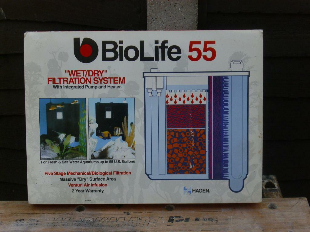hagen biolife 55 wet/dry filter with heater thermostat new unused