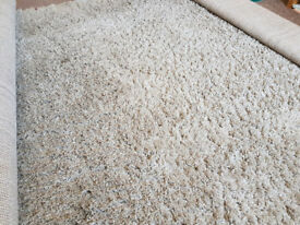 large shaggy pile rug, coloured champagne/buff, in excellent condition