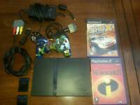 Playstation 2 PS2 slimline with 2 memory cards 6 games inc 4x GTA