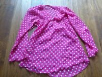 floaty pink & white polka dot top good used condition barely worn age 9-10