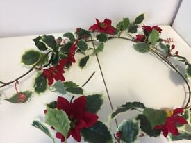 Poinsettia, Berries, and Leaves Garland, 1.5 metres long FREE TO COLLECT