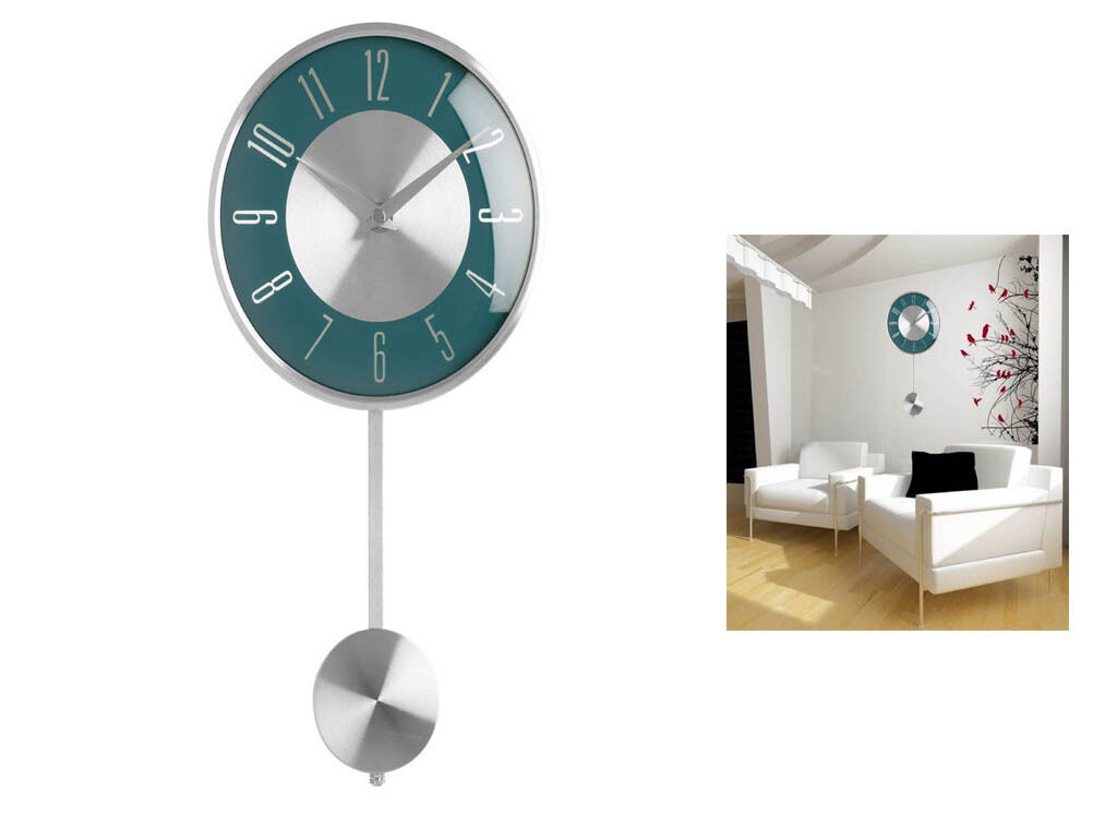 Blue Pendulum Wall Mounted Clock Polished Chrome Effect
