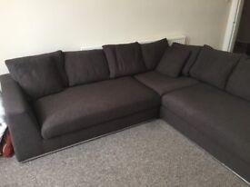 Large Brown fabric corner sofa