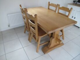 Table & 4 Chairs all Solid Oak (Pitstone)