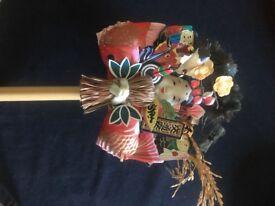 Japanese kimecomi patchwork and kabuki frame