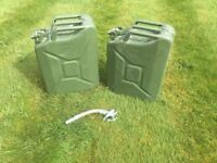 2 off 20 litre metal Jerry Cans with filler spout attachment